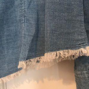 cloth & stone Tops - Anthropology Cloth & Stone Blue Frayed Hem Blouse